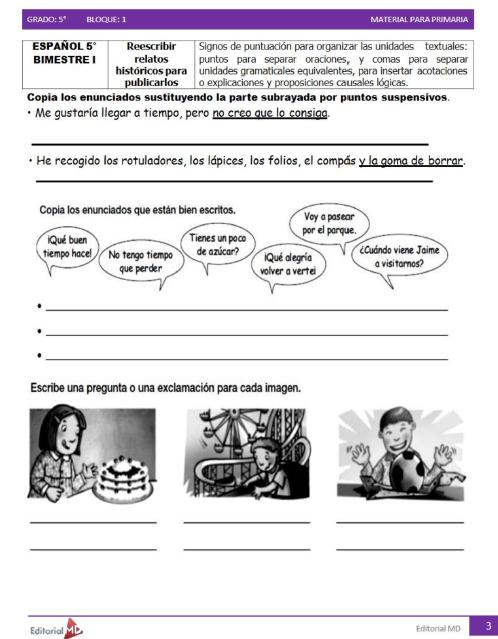 actividades de Quinto grado de primaria2