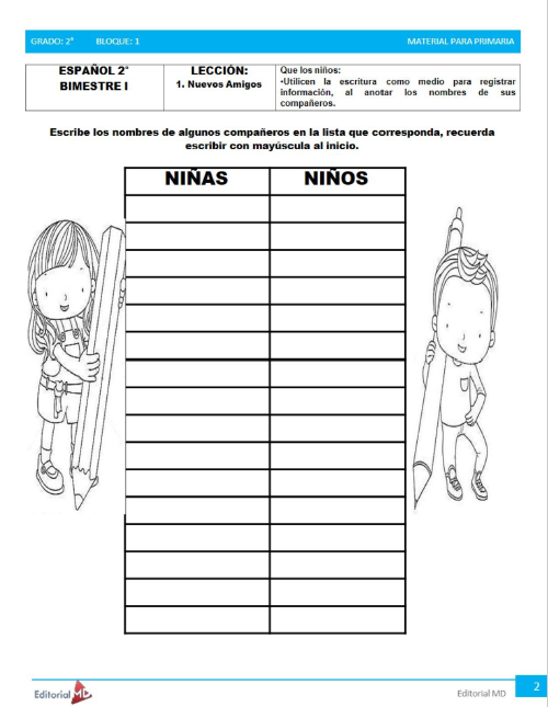 actividades de Segundo grado de primaria1