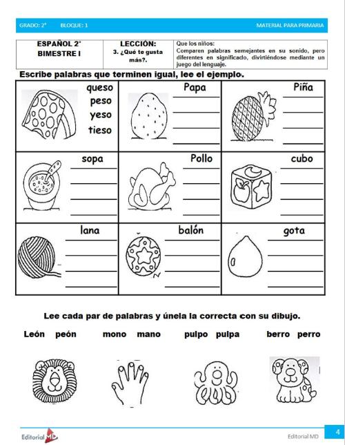 actividades de Segundo grado de primaria2