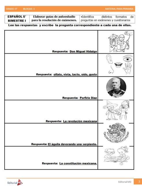 actividades de Sexto grado de primaria2
