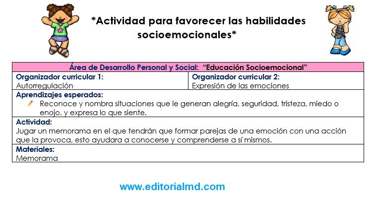 actividades para favorecer las habilidades socioemocionales