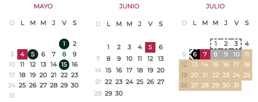 Calendario Junio Julio 2020.Calendario Escolar Ciclo 2019 2020 Sep Descargalo En Pdf