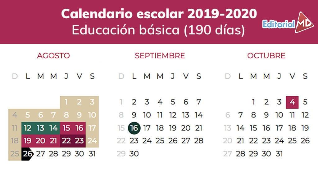 Calendario 2019 Agosto A Diciembre.Calendario Escolar Ciclo 2019 2020 Sep Descargalo En Pdf