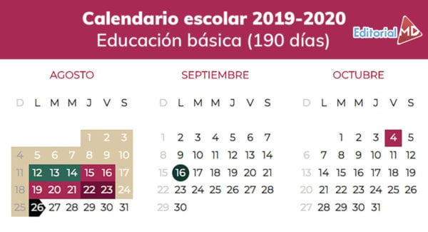 Calendario 2019 Por Semanas.Calendario Escolar Ciclo 2019 2020 Sep Descargalo En Pdf