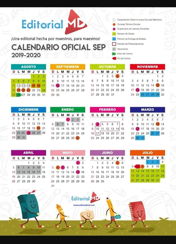 calendario escolar de la sep a color del cilo 2019-2020