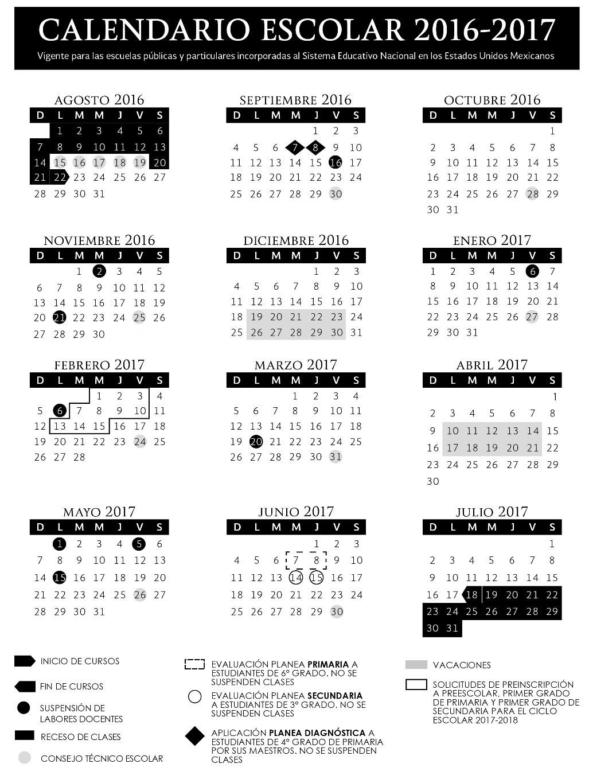 SEP Publica los 2 Calendarios Para el Ciclo Escolar 2016 – 2017