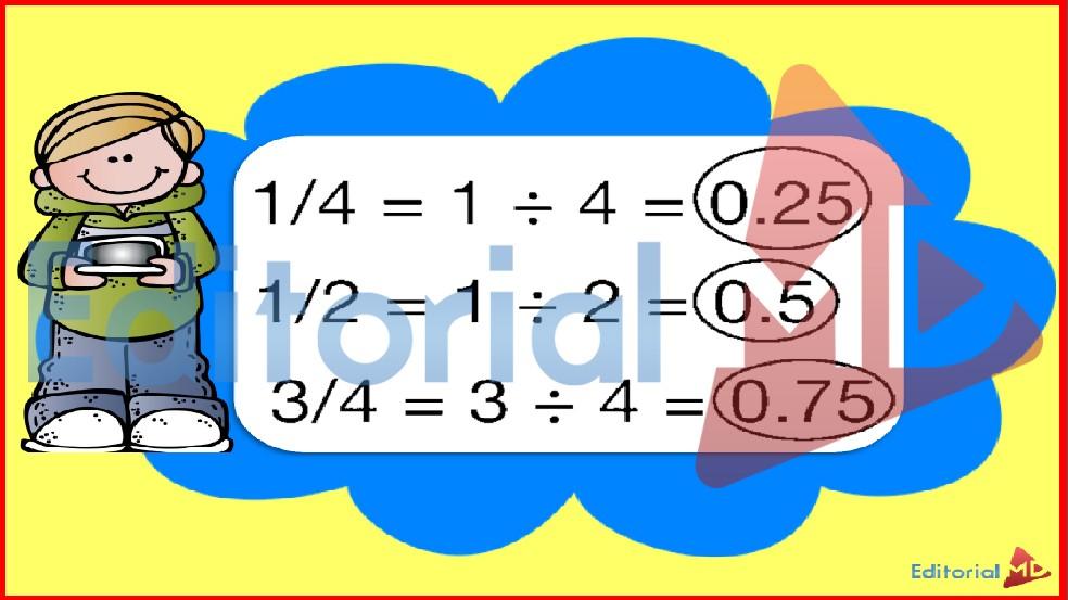 conversion de fracciones a decimales y viceversa