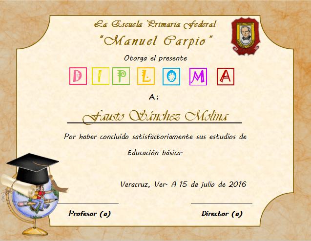 diploma de graduacion para primaria