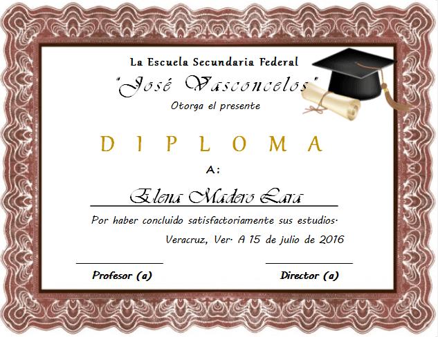 ejemplo diploma de graducacion de nivel secundaria editable