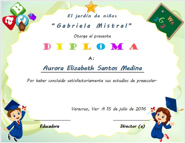 Diplomas de Graduación preescolar para imprimir
