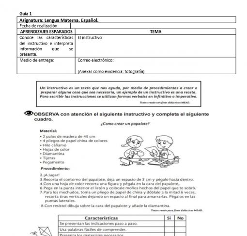 ejemplo Plan de trabajo en casa 4to de primaria por contingencia COVID 19