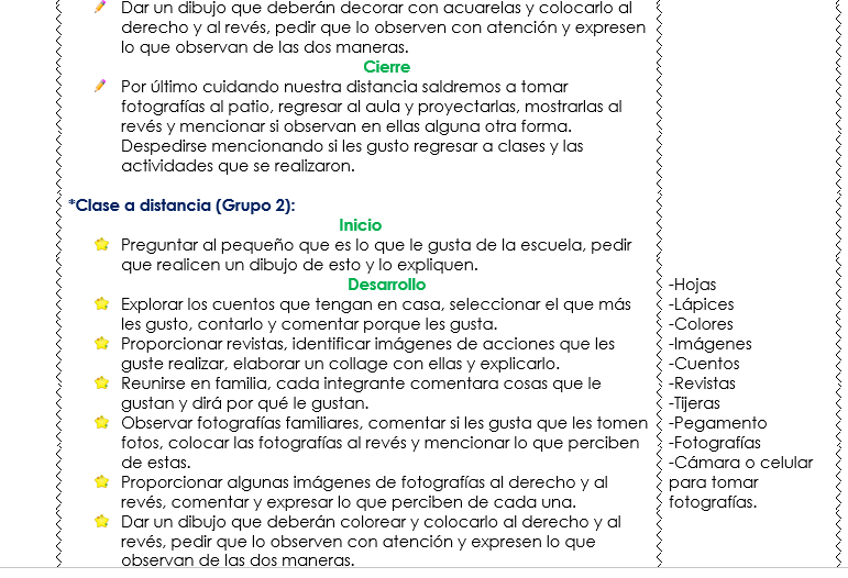ejemplo clases a distancia de preescolar