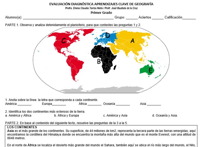 ejemplo de evaluacion diagnostica de geografia secundaria