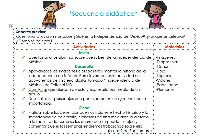 ejemplo de la situacion didactica de preescolar del mes de septiembre