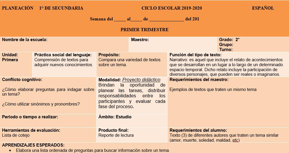 ejemplo español secundaria 2019-2020
