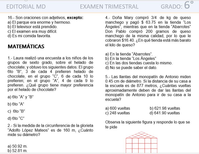 ejemplo evaluacion final de primaria