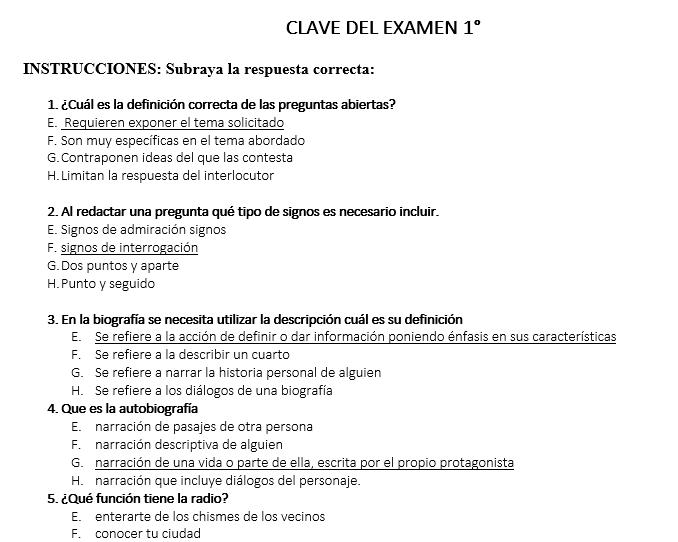 ejemplo examen de diagnostico español secundaria