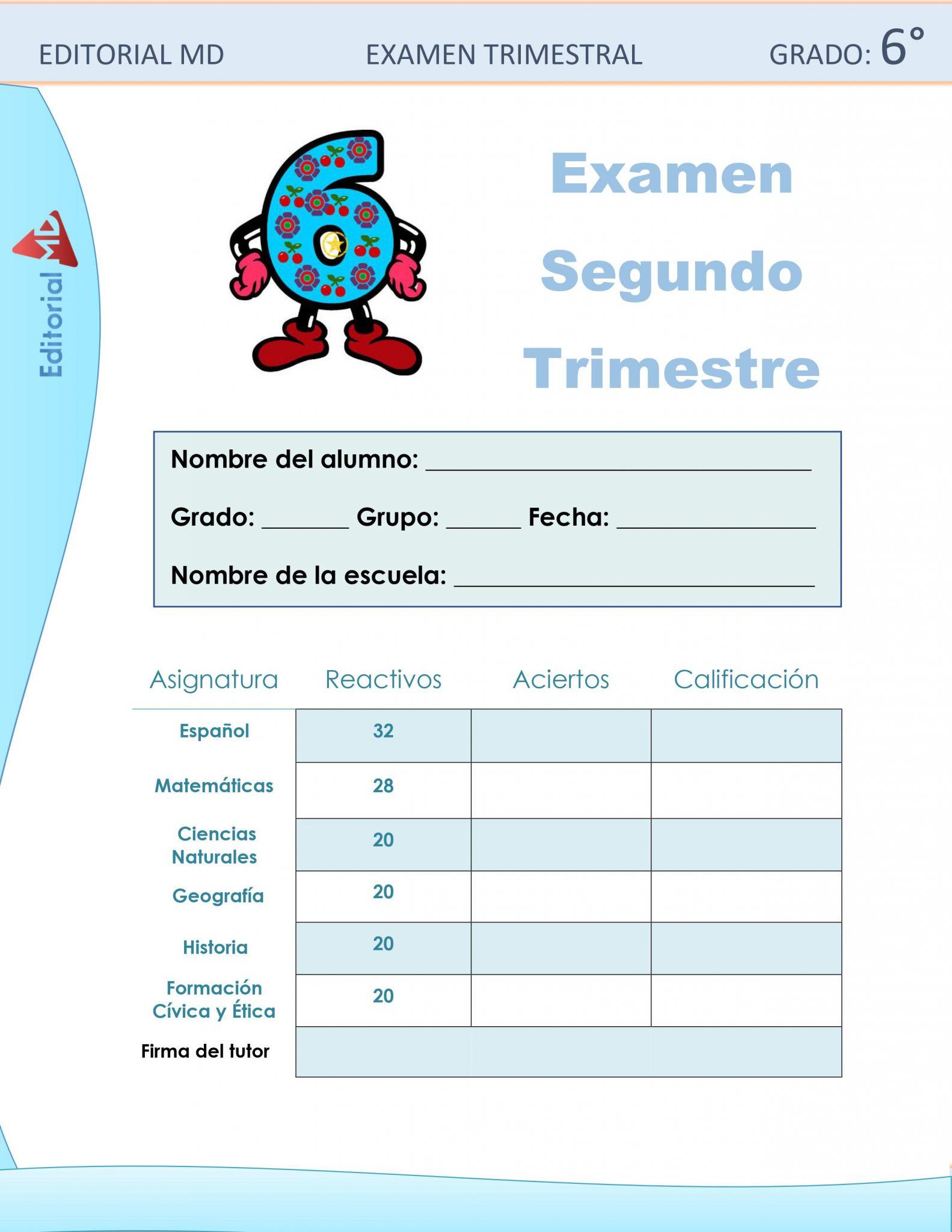 ejemplo examen sexto grado de primaria 1