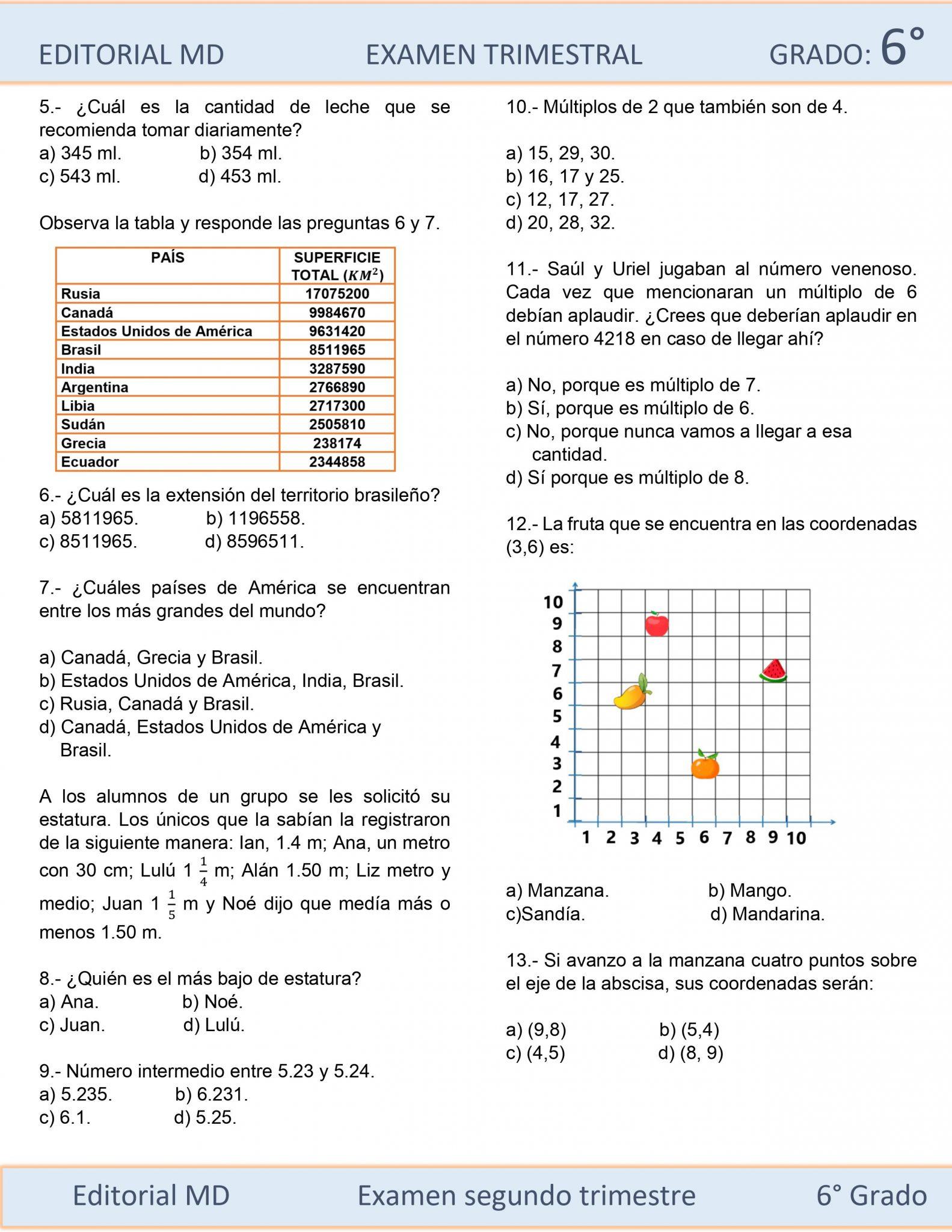 ejemplo examen sexto grado de primaria 3