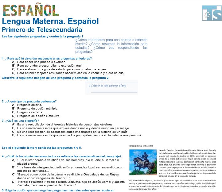 evaluacion diagnostica español (lengua materna) telesecundaria