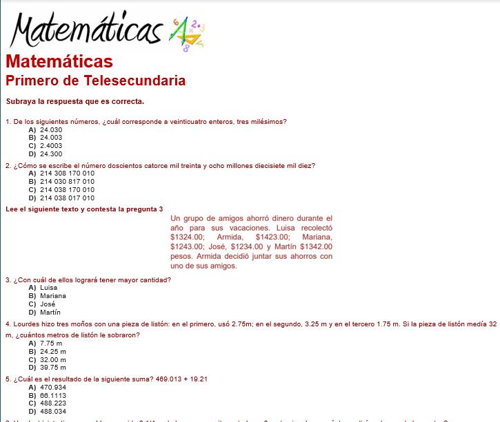 evaluacion diagnostica matemáticas 1 de telesecundaria