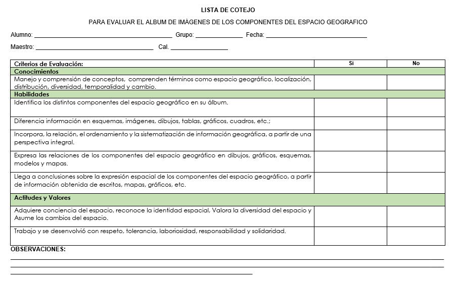 ejemplo listas de cotejo planeacion de geografia secundaria