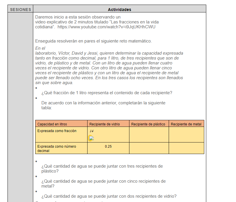ejemplo matematicas secundaria plan