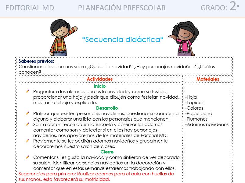 ejemplo planeacion de diciembre preescolar con el nuevo modelo