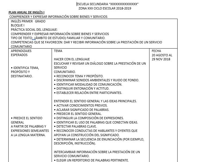 ejemplo planeacion ingles secundaria 2018 - 2019