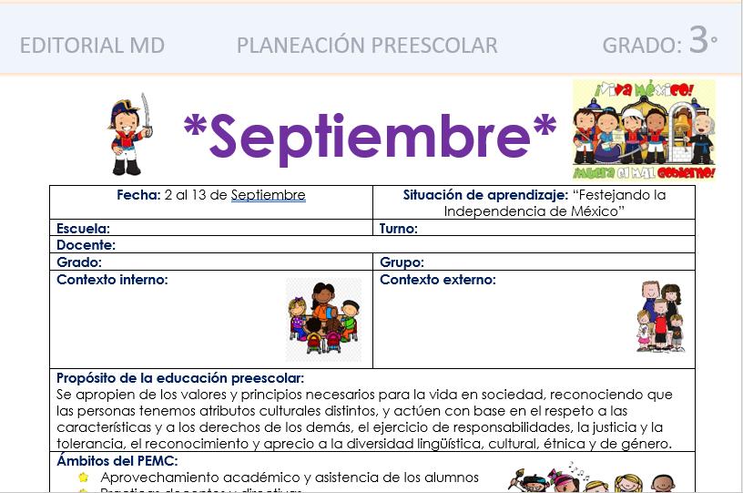 ejemplo de la planeacion preescolar de septiembre