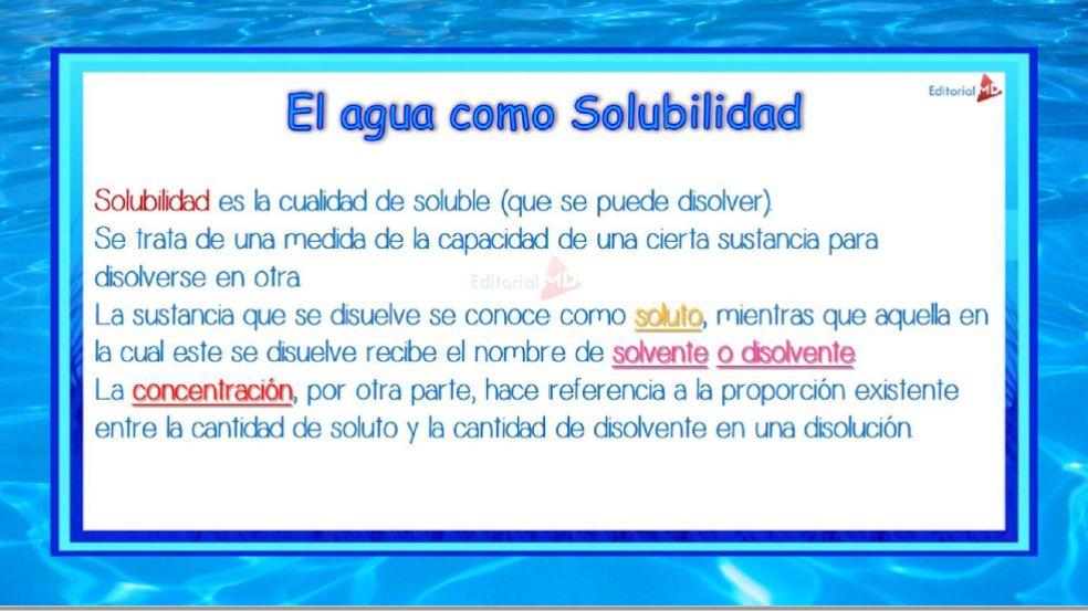 el agua como solubilidad