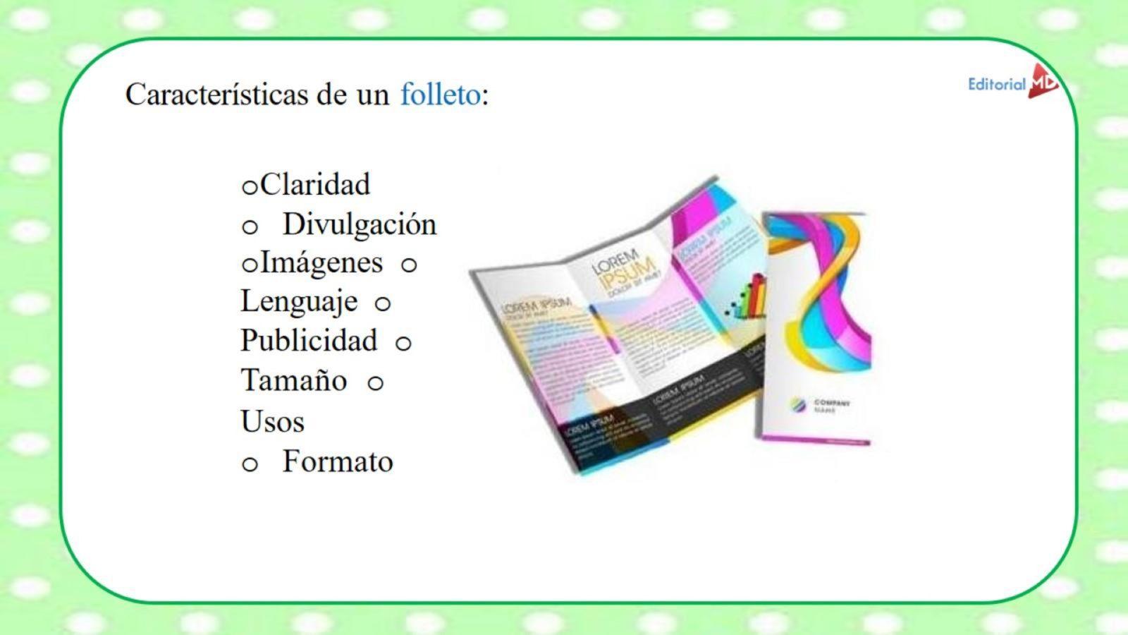 folletos características y ejemplos para niños de primaria
