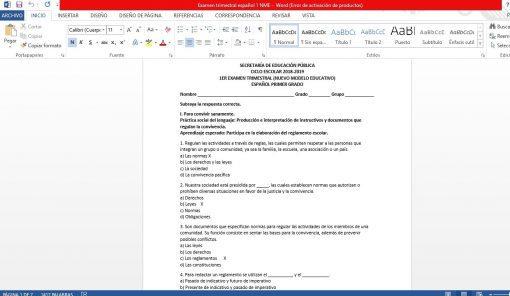 Examen Trimestral Español 1 Secundaria Nuevo Modelo Educativo