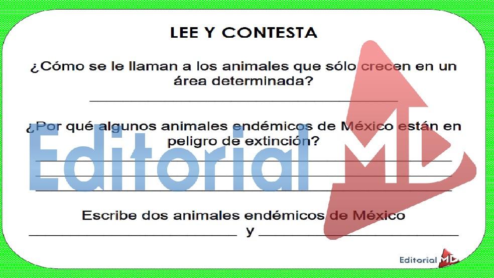 actividades de los andimales endemicos de primaria