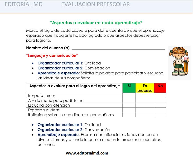 evaluacion de los aprendizajes esperados en preescolar