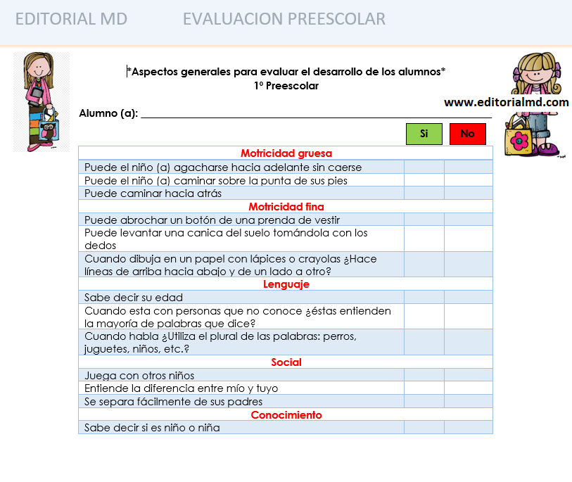 evalucion del desarrollo de preescolar
