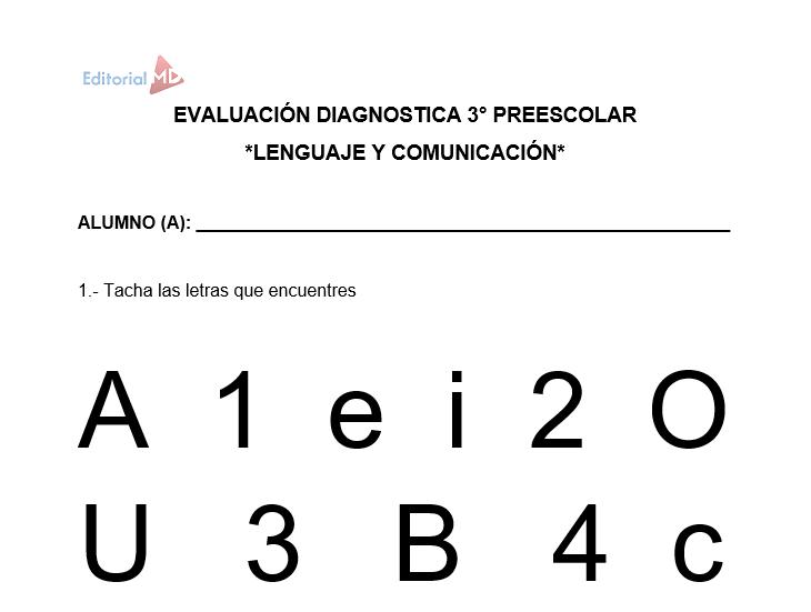 ejemplo de evaluacion diagnostica tercer grado de preescolar