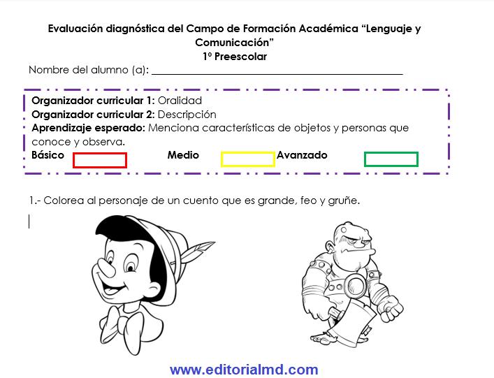 Evaluación Diagnóstica preescolar formato
