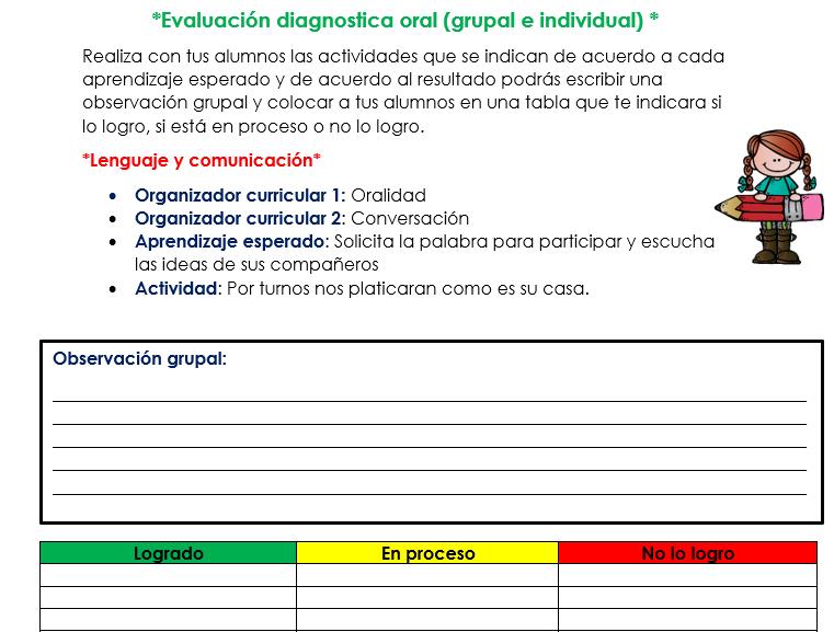 evaluacion diagnostica preescolar oral