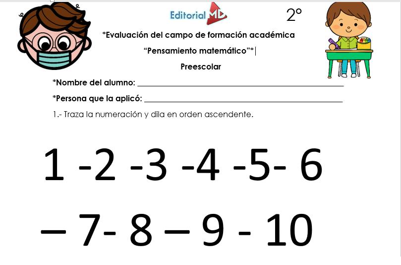 evaluacion escrita de pensamiento matematico
