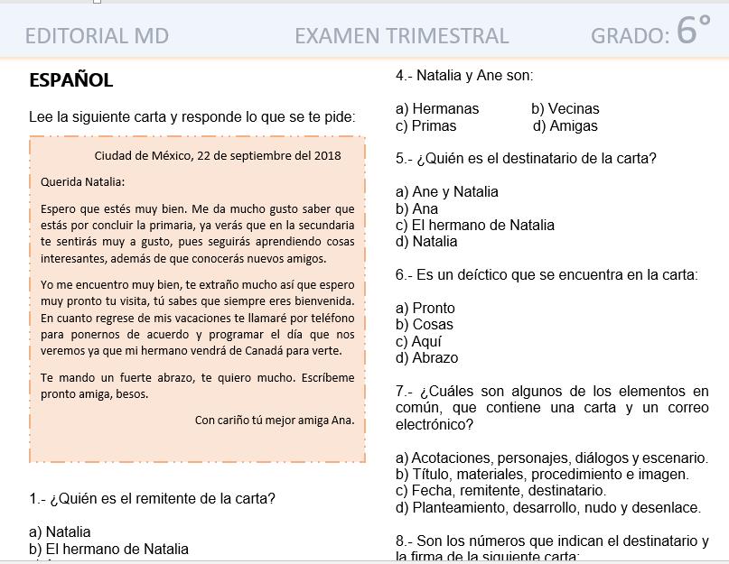 evaluacion final de primaria