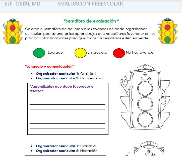 evaluacion intermedia de preescolar - semáforo de evaluacion