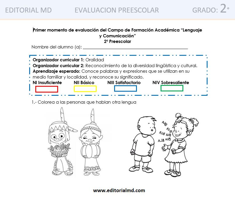 evaluacion primer momento 2 grado de preescolar