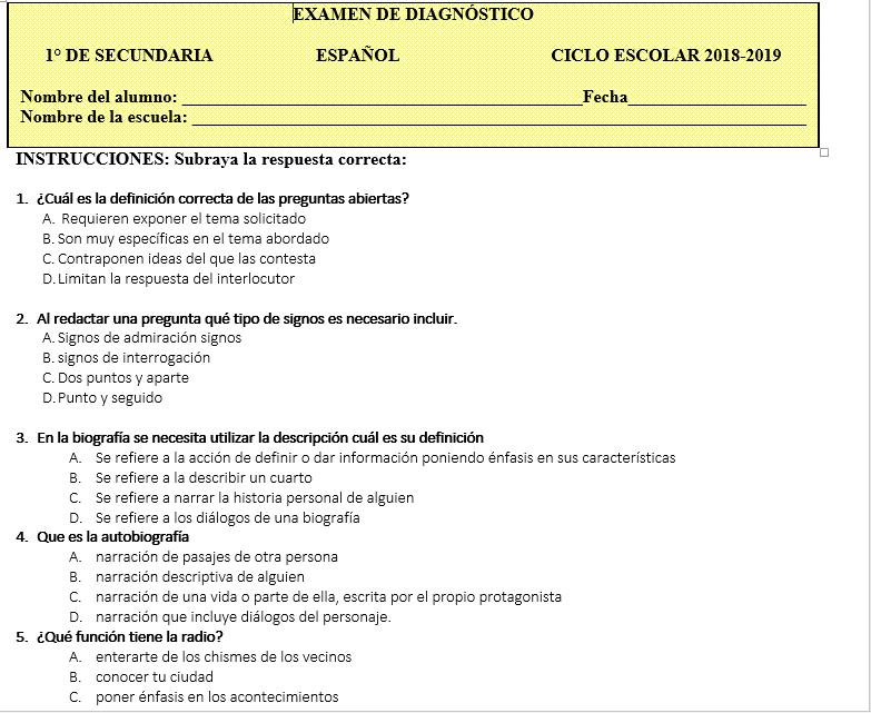 examen de diagnóstico español secundaria