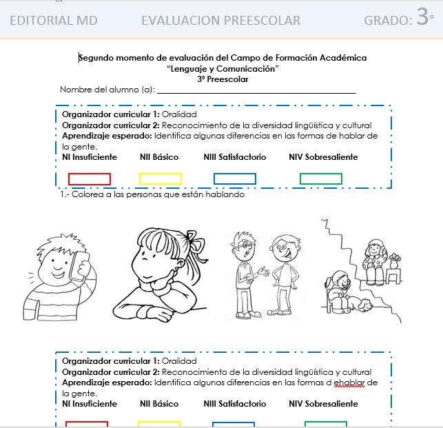 examen evaluacion intermedia de preescolar