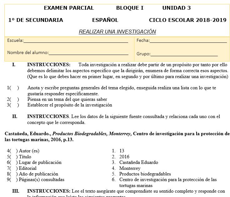 examenes español secundaria nuevo modelo educativo