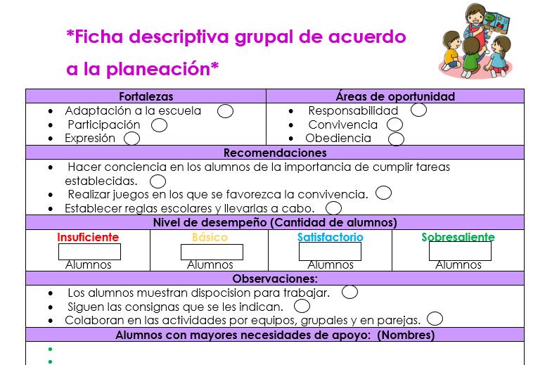 ficha descriptiva grupal de preescolar