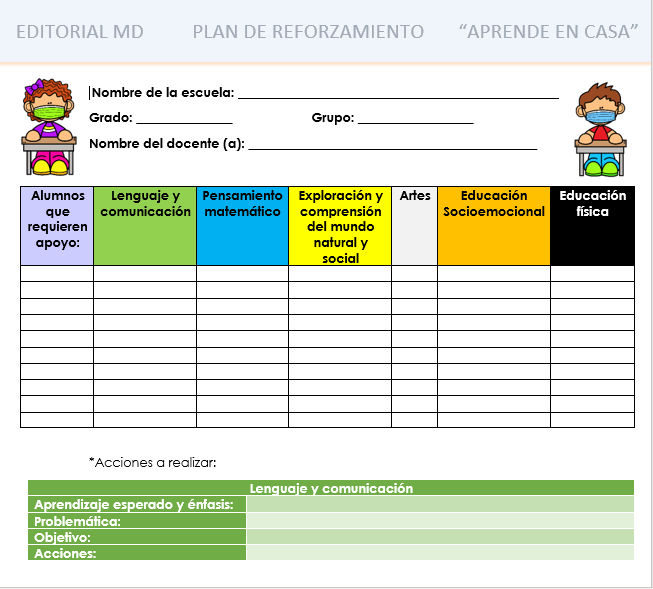 formato plan de reforzamiento