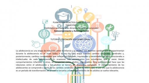 Planeación Educación socioemocional secundaria