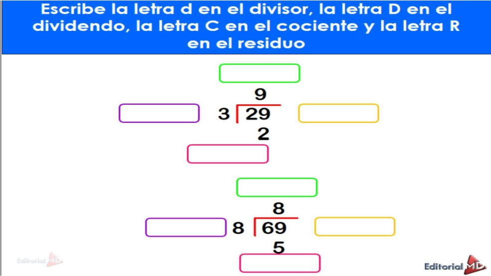 la division matematica ejercicios